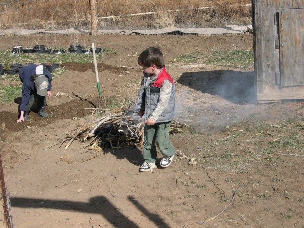 B and I burned weeds and corn stalks from last year.