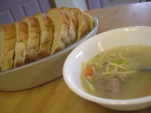 home made chicken soup lunch